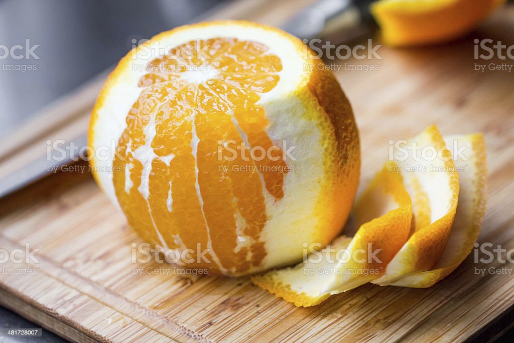 Cleared of peel orange stock photo