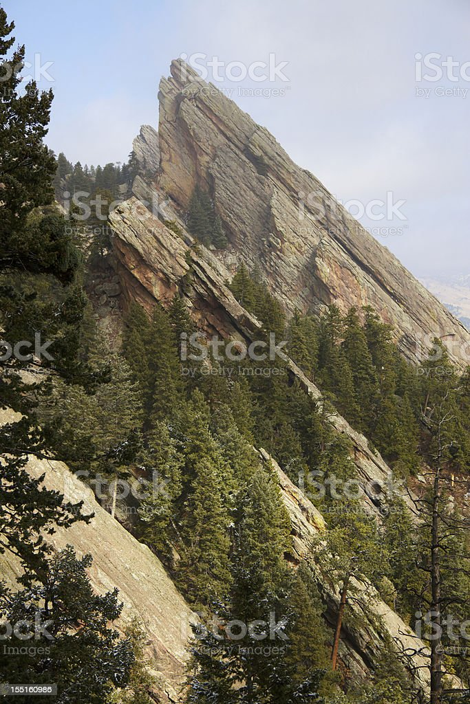 Clearing Storm Over Flatirons in Boulder Colorado stock photo