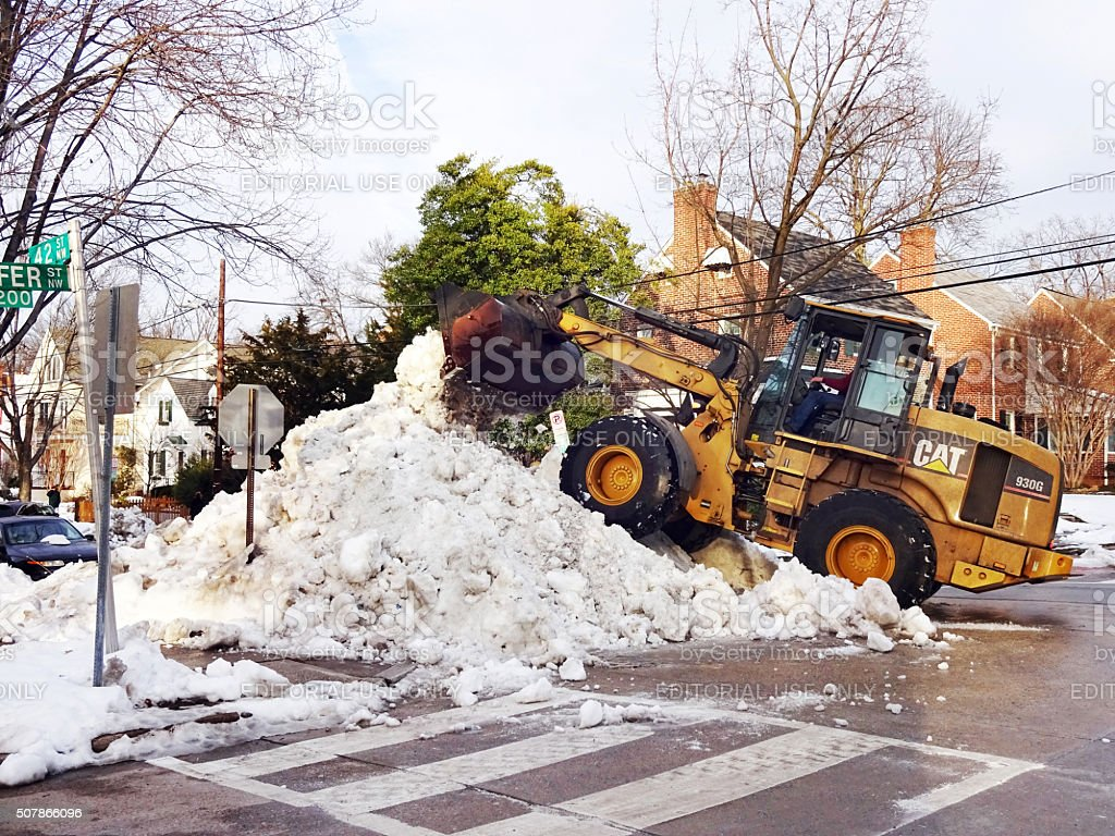 Clearing the Snow in Washington DC stock photo