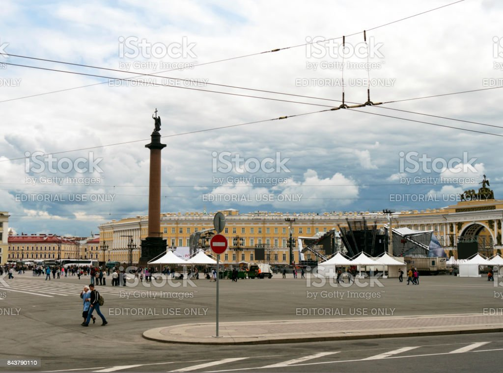 Clearing up after the Scarlet Sails concert in Palace Square, St Petersburg stock photo