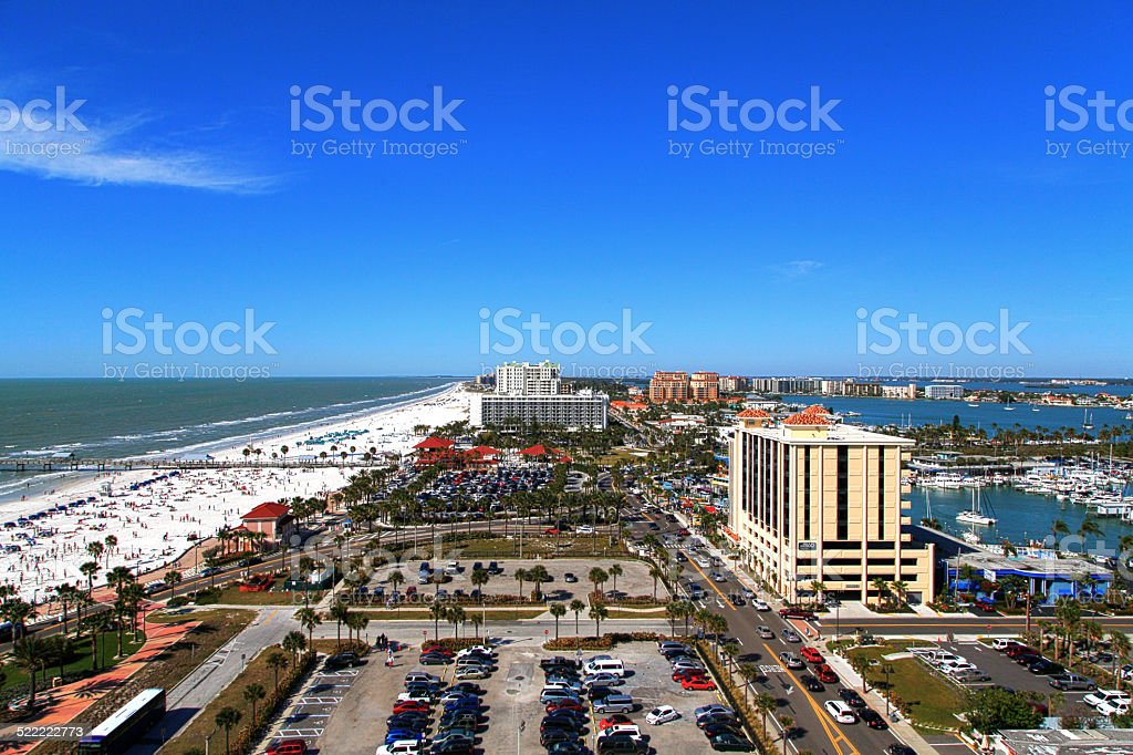 Clearwater Beach from a bird's eye view, hdr stock photo
