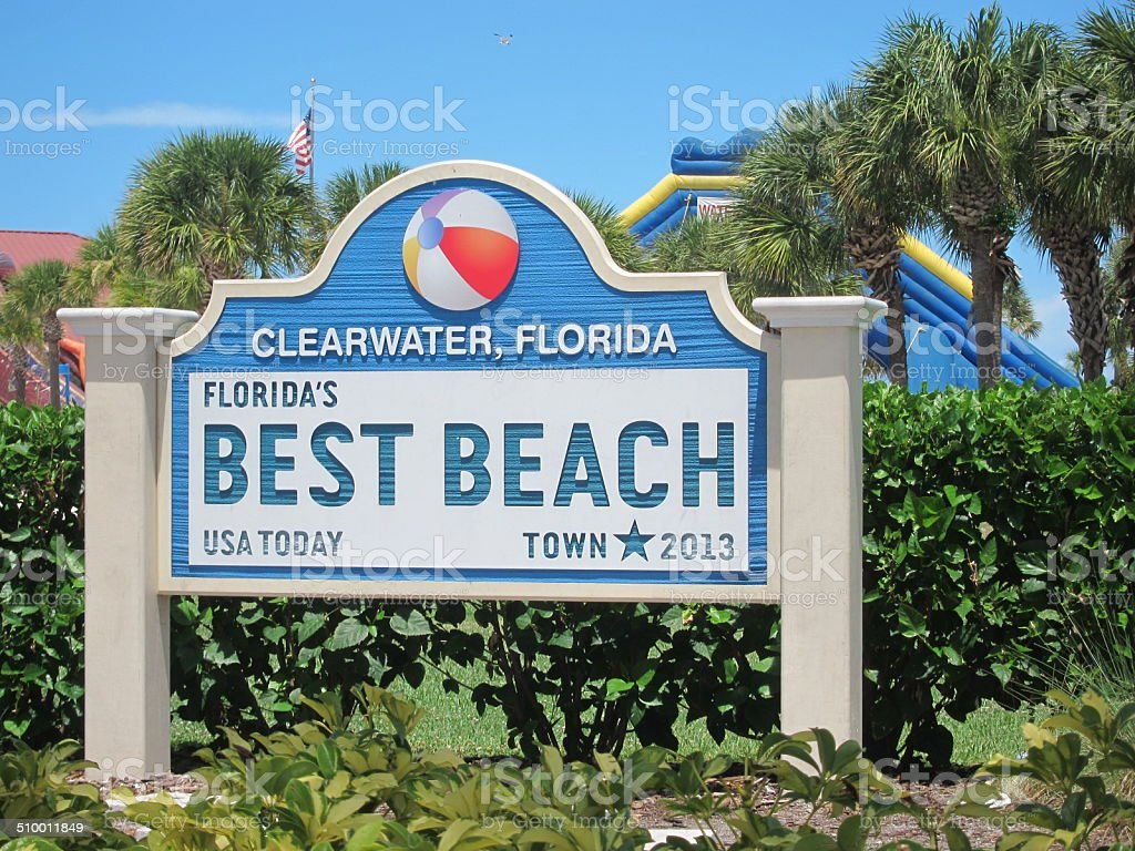 Clearwater, FL Best Beach Sign stock photo