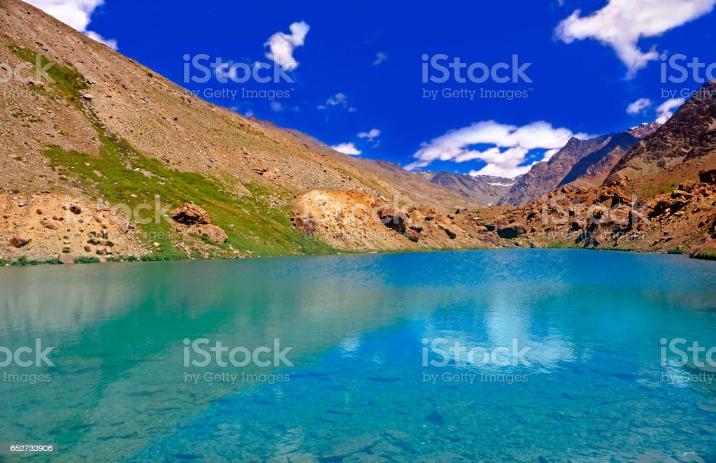 Clearwater Lake in the High-Altitude Mountain Desert of the Himalayas stock photo