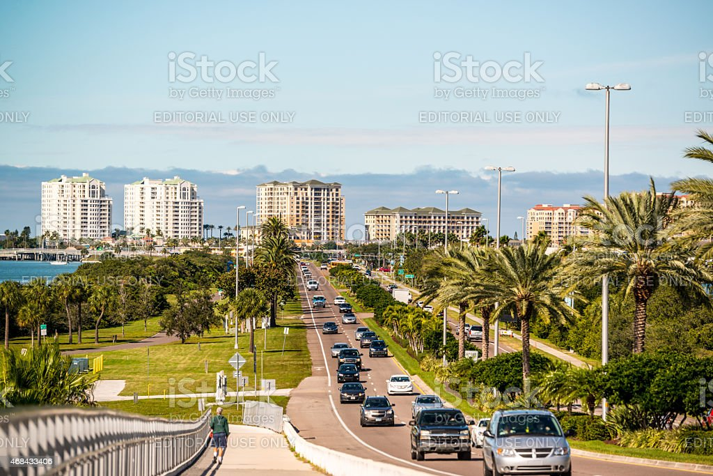 Clearwater Memorial Causeway Traffic stock photo