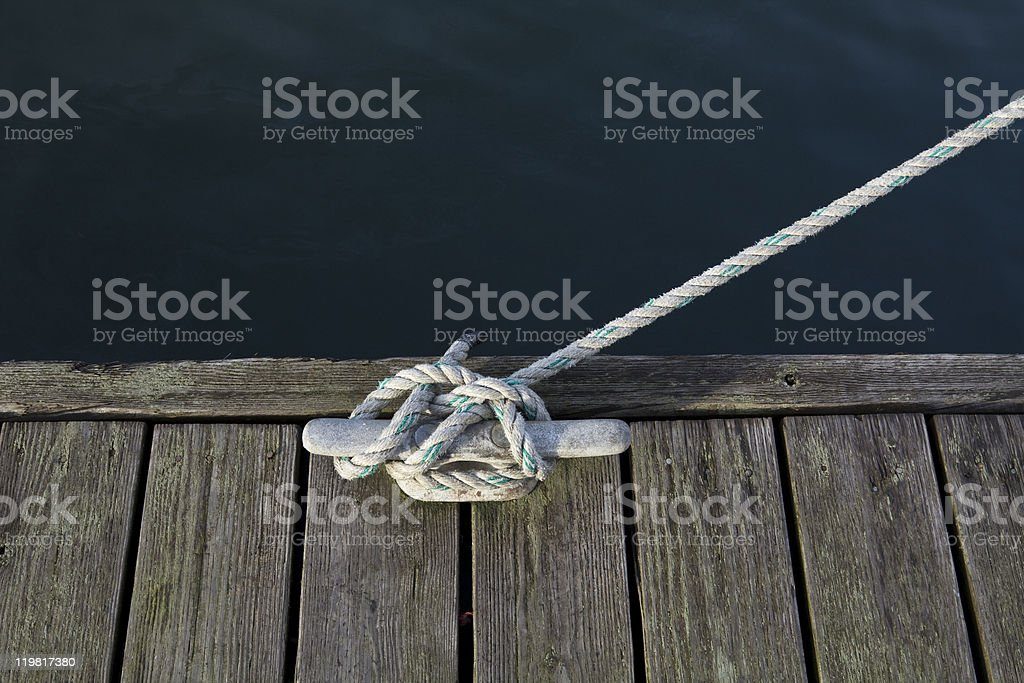 Cleat and rope stock photo