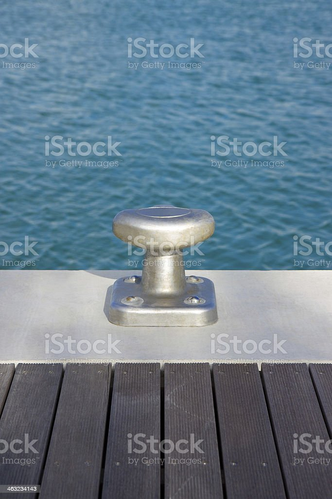 Cleat for mooring boats. stock photo