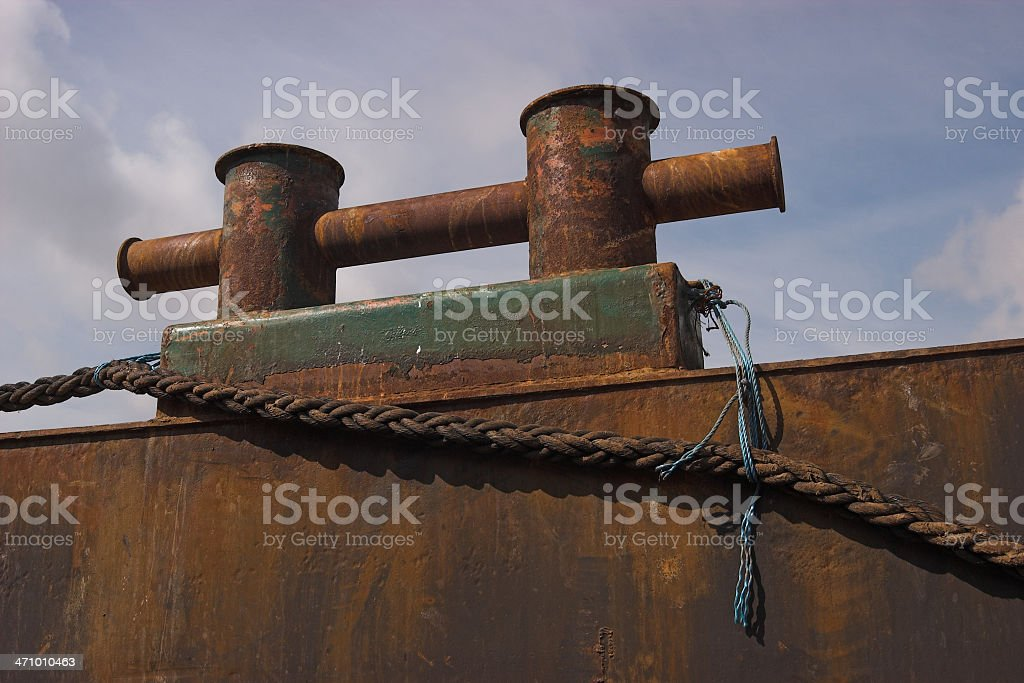 Cleat on an old ship royalty-free stock photo