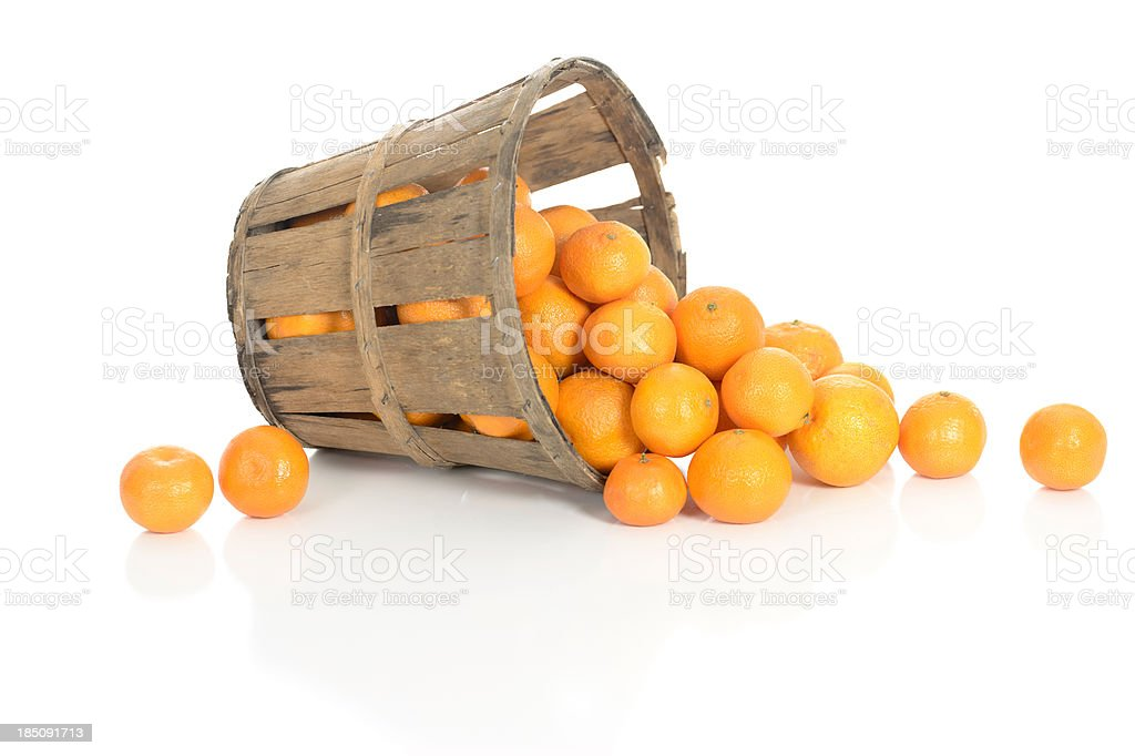 Clementines in a Rustic Basket stock photo