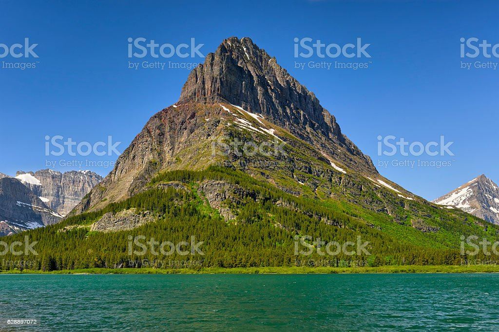 Clements Mountain and Hidden Lake stock photo