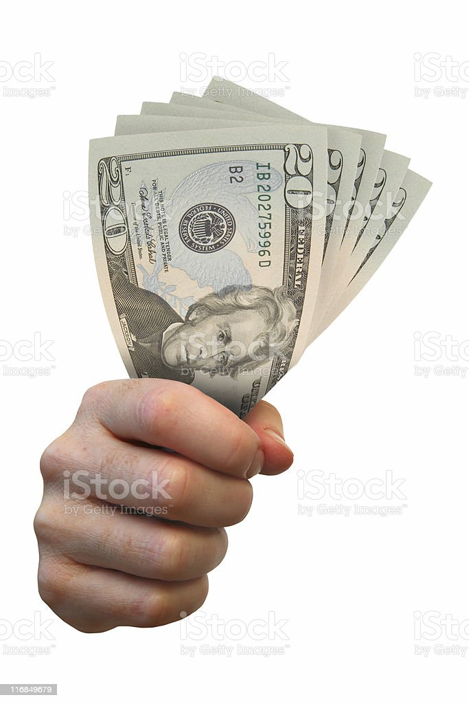 Clenched fist full of Dollars royalty-free stock photo