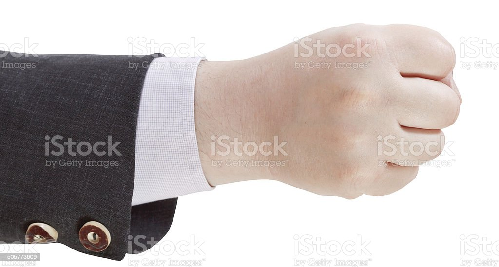 clenched fist - hand gesture stock photo