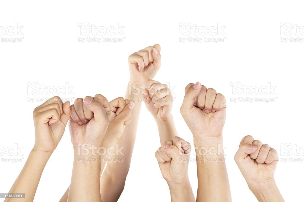 Clenched fists stock photo