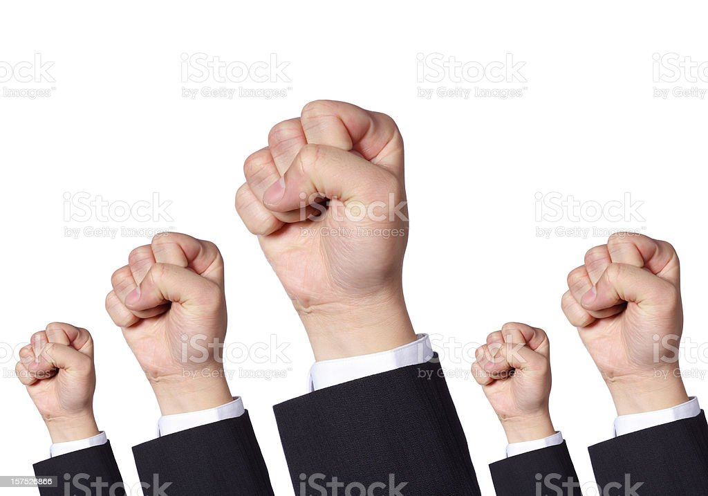 Clenched Fists Protesting stock photo