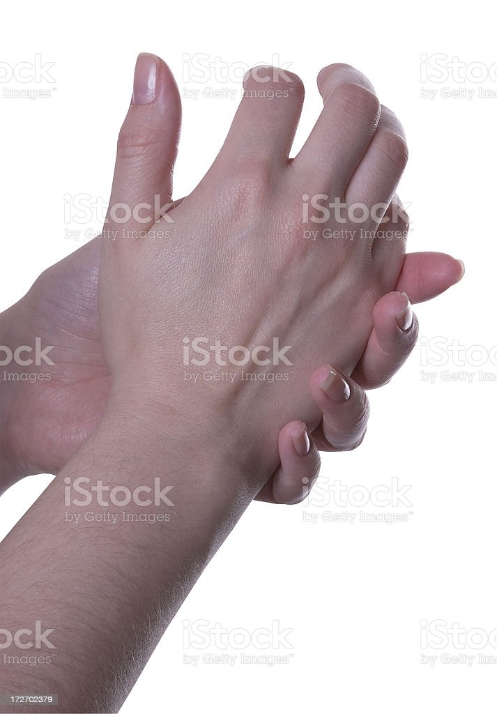 Clenched painful hands on white background 1 royalty-free stock photo