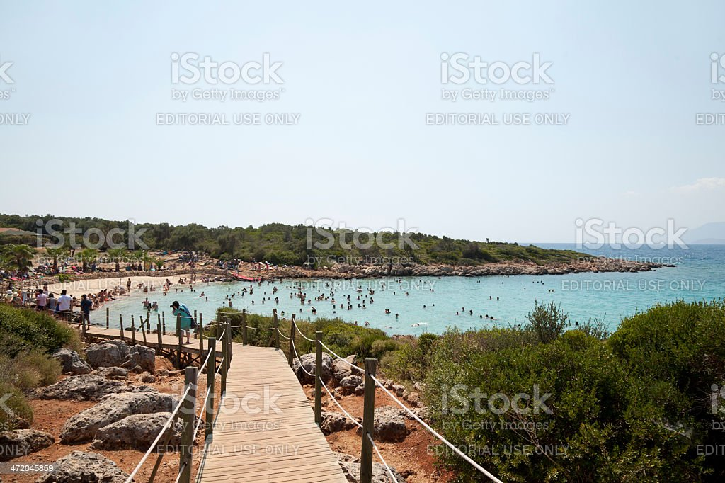 cleopatra beach and island Turkiye stock photo