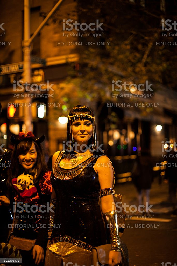 Cleopatra graces passerby. Halloween NYC 2014 stock photo