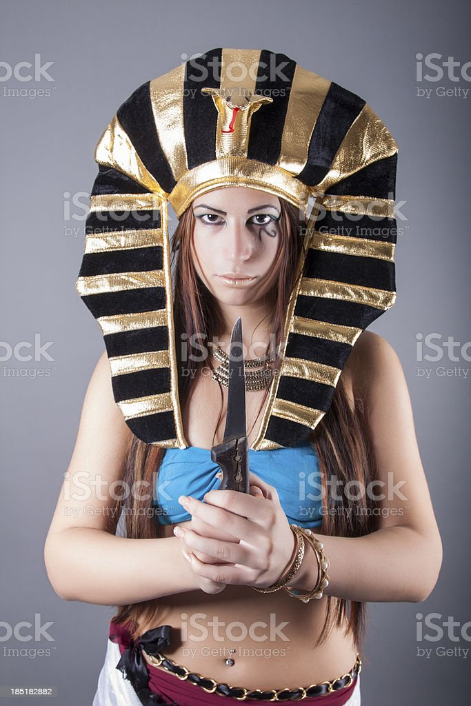 cleopatra. queen of egypt holding the knife royalty-free stock photo