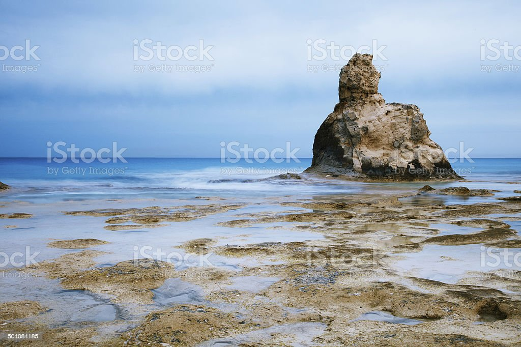 Cleopatra's beach famous rocks near  Marsa Matruh, egypt, night stock photo