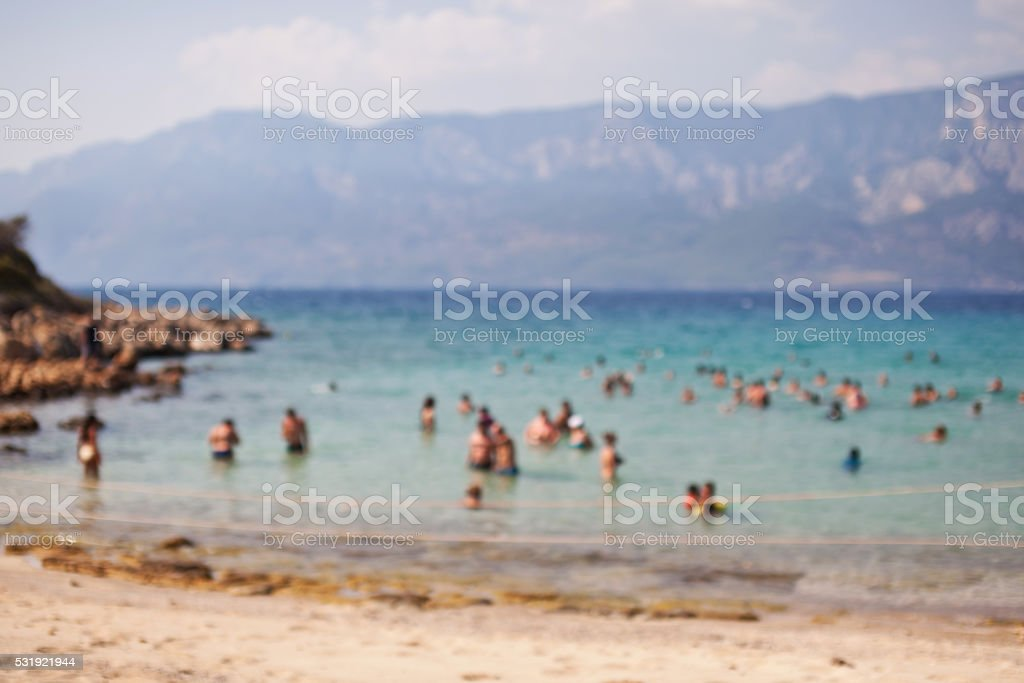 Cleopatra's Beach on the island of Sedir. Turkey. Blurred stock photo