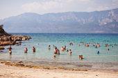 Cleopatra's Beach on the island of Sedir. Turkey. Blurred