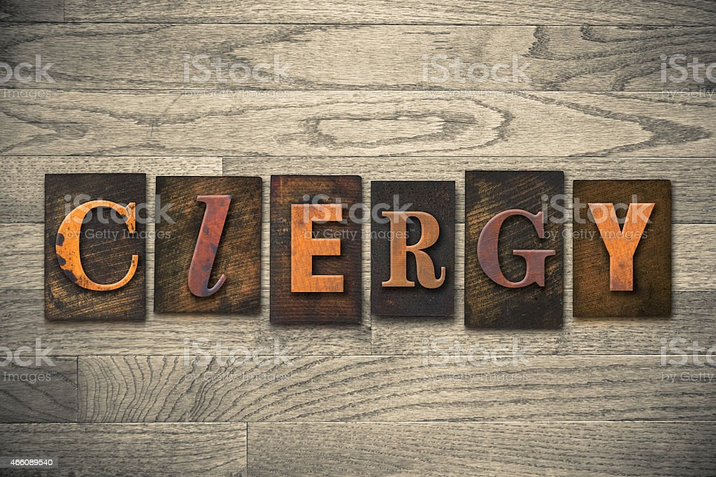 Clergy Concept Wooden Letterpress Type stock photo