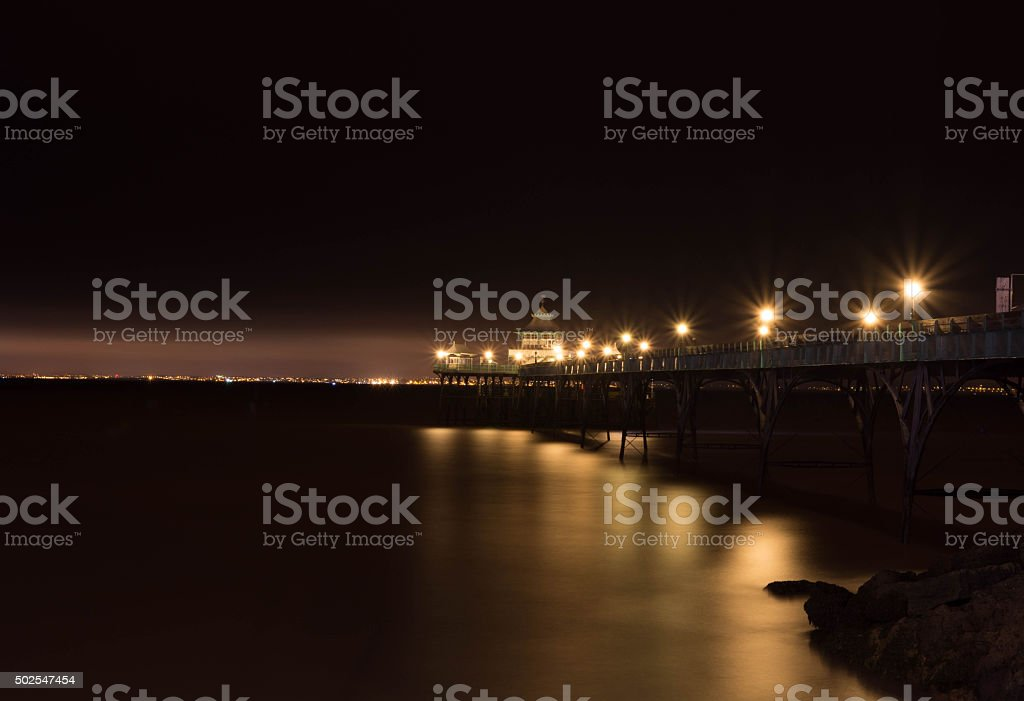 clevedon pier at night stock photo