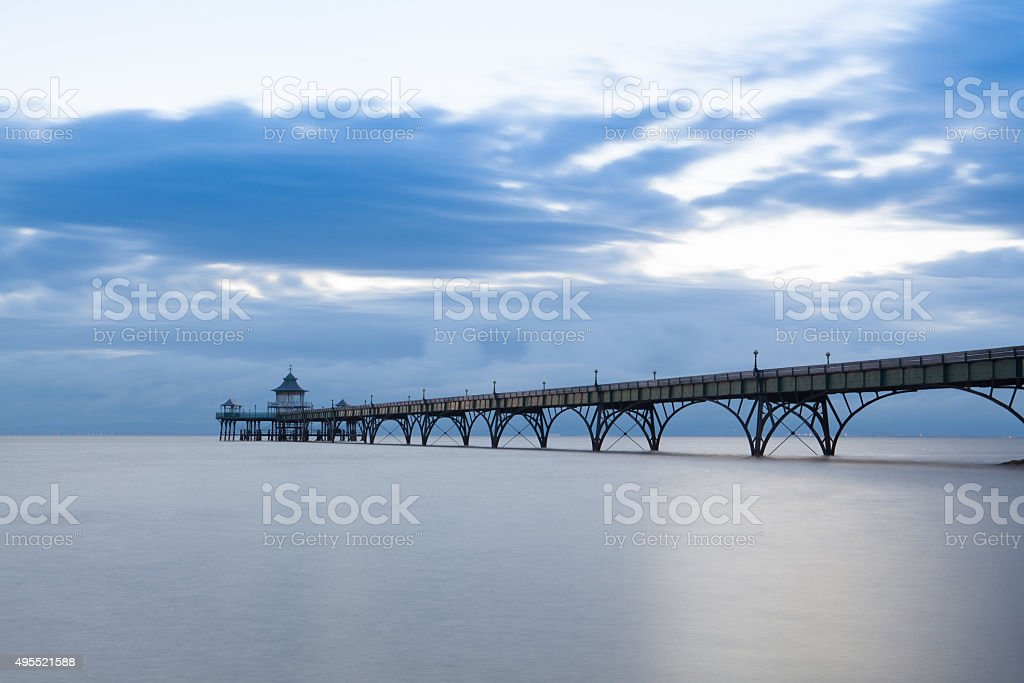 Clevedon Pier at sunset. stock photo