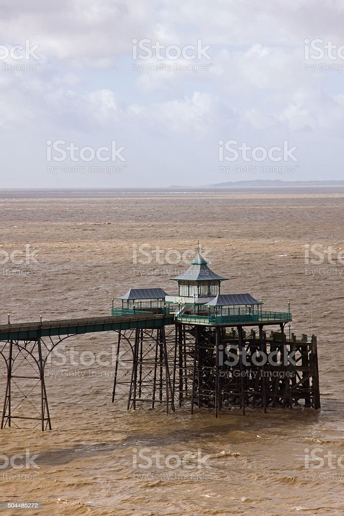 Clevedon pier in a winter sea stock photo