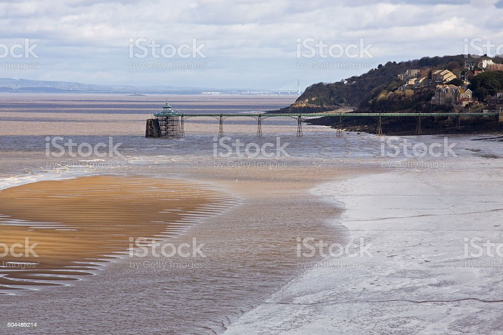 Clevedon pier providing access over the Bristol Channel UK stock photo