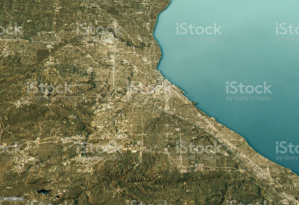 Cleveland 3D Landscape View East-West Natural Color stock photo