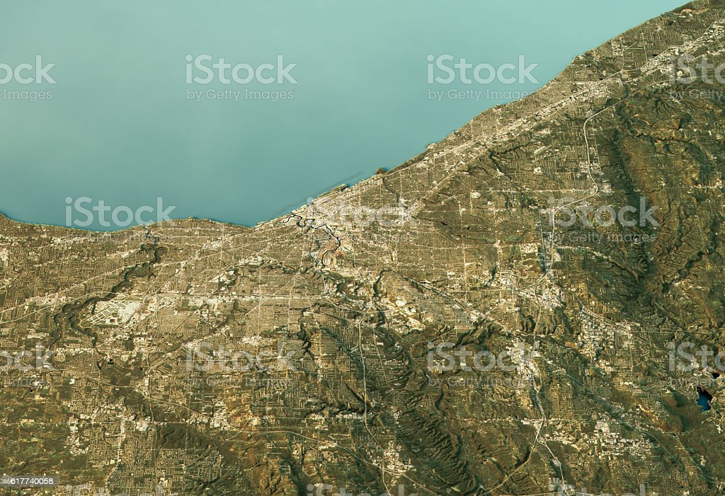 Cleveland 3D Landscape View South-North Natural Color stock photo