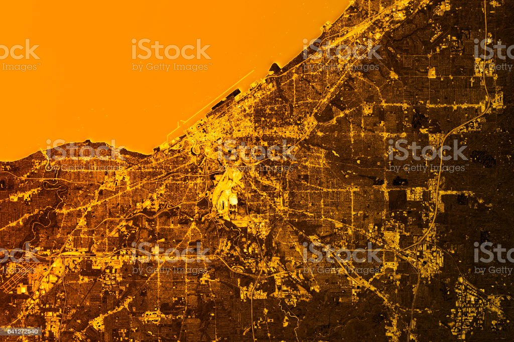Cleveland Abstract City Map Golden stock photo