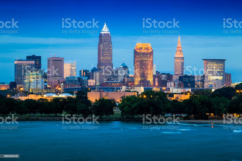 Cleveland and the Lake Erie Shore at Night stock photo