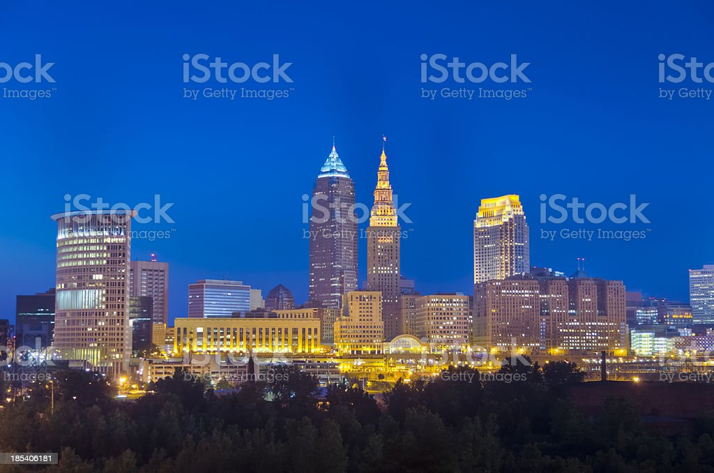 Cleveland Buildings Lit after Nightfall stock photo