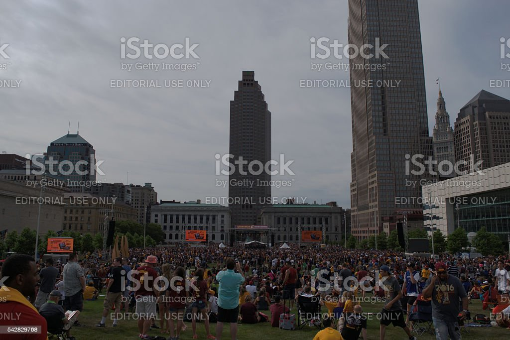 Cleveland Cavaliers fans Celebrating Championship stock photo