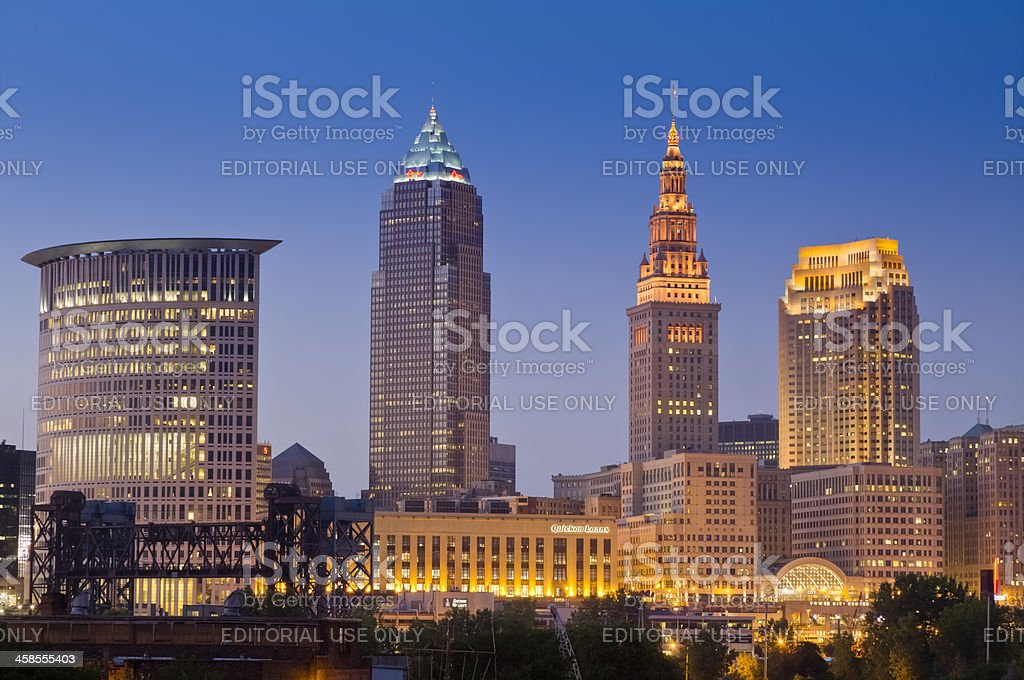 Cleveland Cityscape Just After Sunset With Lights in Buildings stock photo
