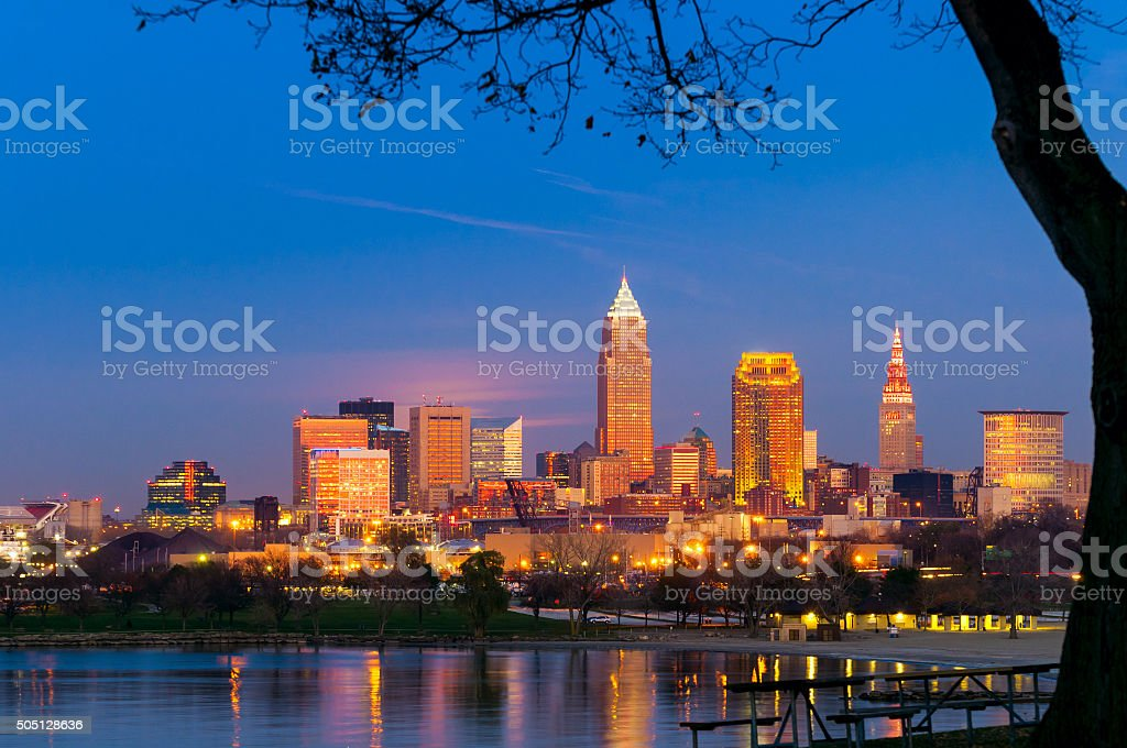 Cleveland golden hour stock photo
