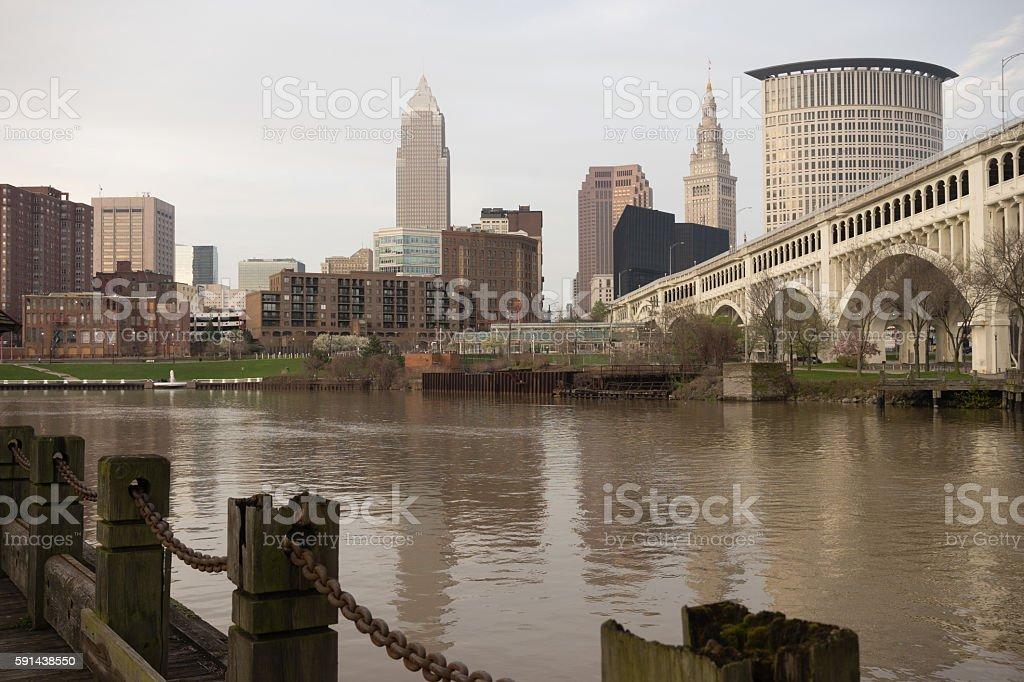 Cleveland Ohio Downtown City Skyline Cuyahoga River stock photo