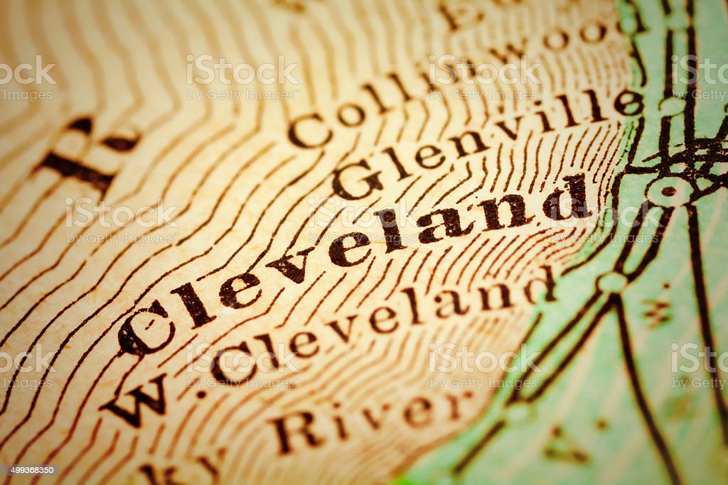 Cleveland, Ohio on an Antique map stock photo