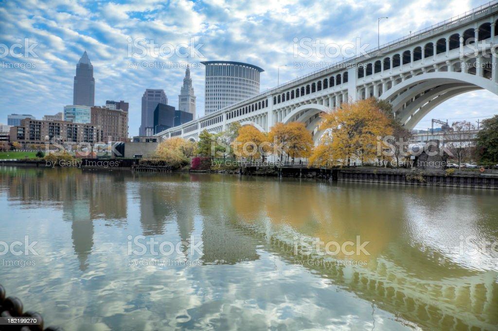 Cleveland Skyline and Bridge stock photo