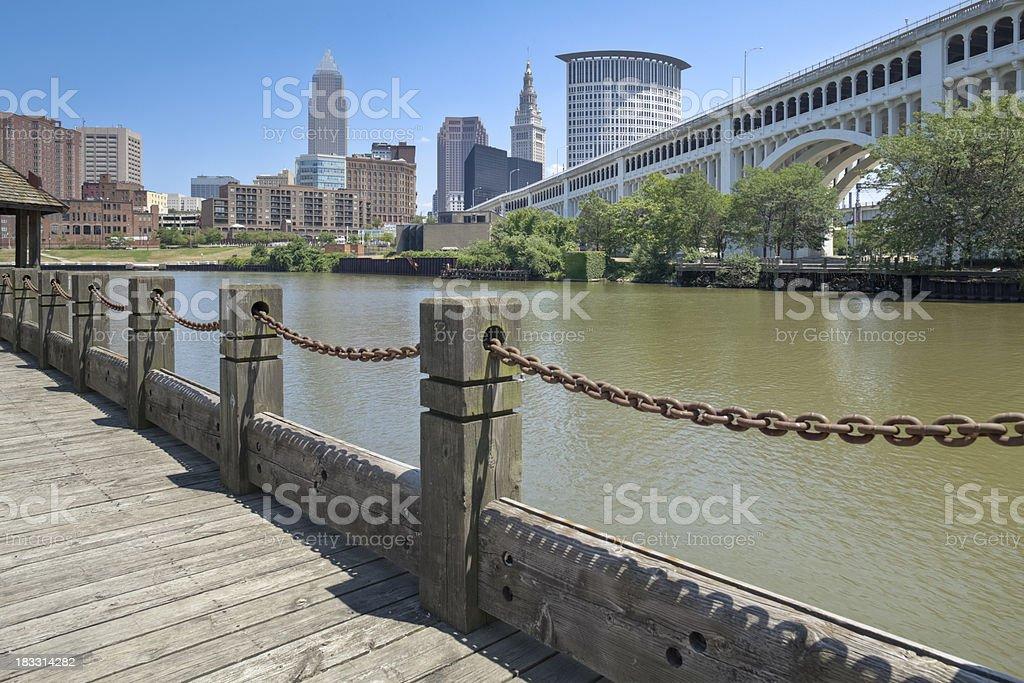 Cleveland Skyline and Detroit-Superior Bridge stock photo