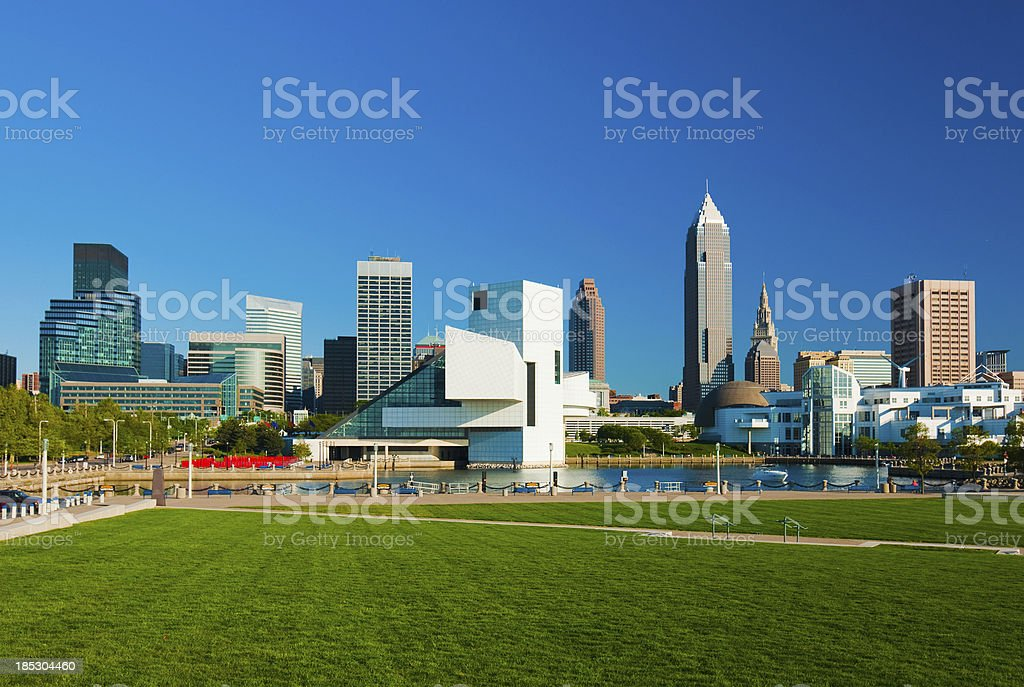 Cleveland skyline and park stock photo