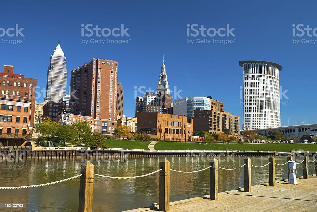 Cleveland skyline and river stock photo