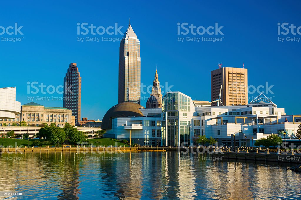 Cleveland skyline and waterfront stock photo