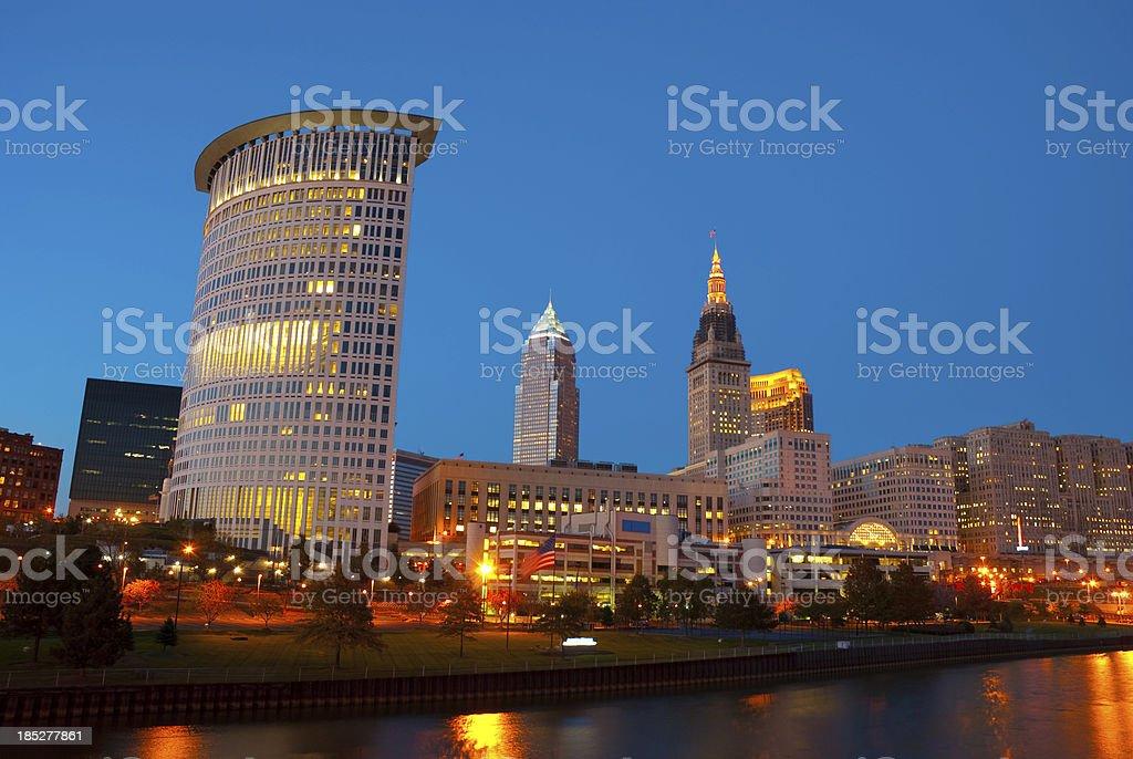Cleveland skyline at dusk stock photo