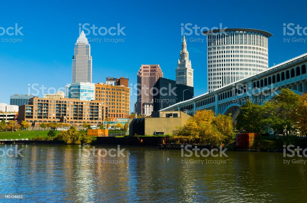 Cleveland Skyline, Bridge, and River stock photo