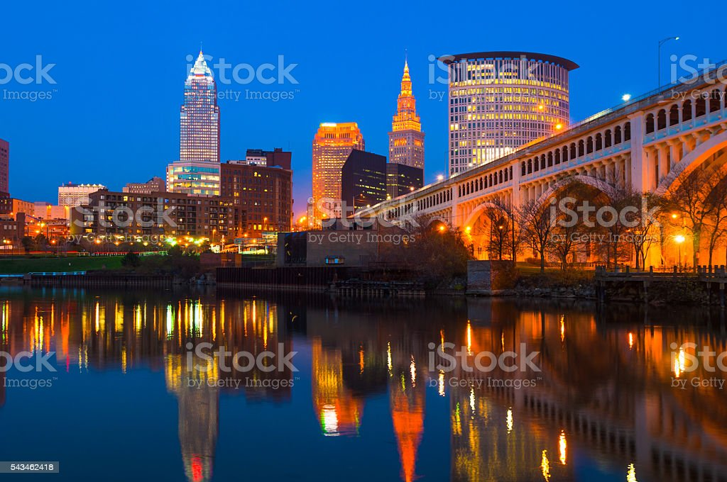 Cleveland Skyline with Bridge and River at Dusk stock photo