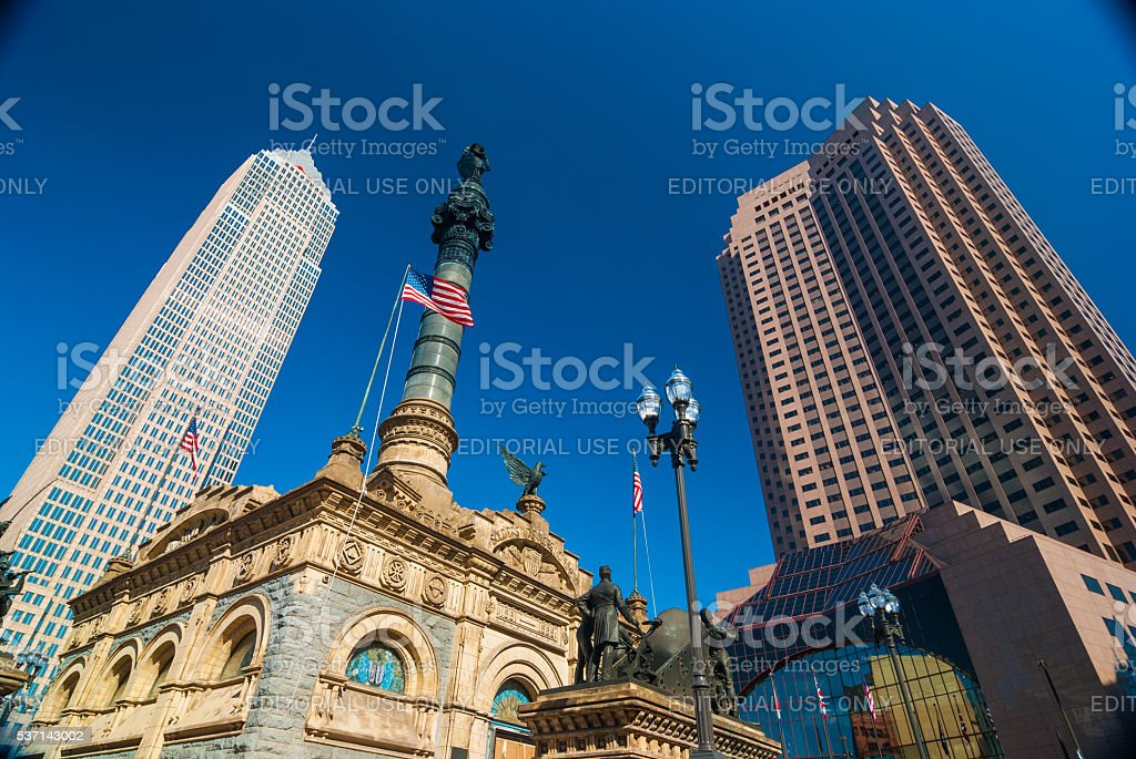 Cleveland skyscrapers with the Soldiers and Sailors Monument stock photo