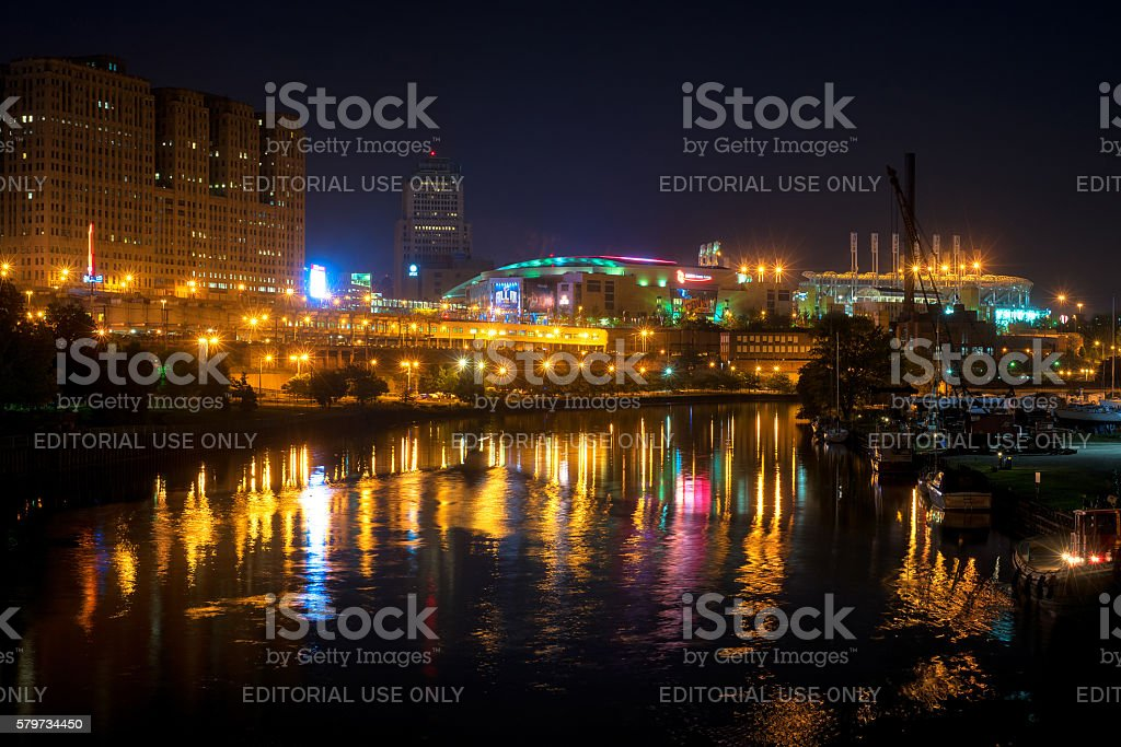 Cleveland sports district stock photo