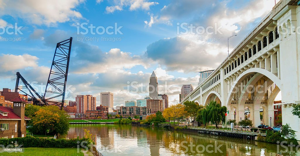 Cleveland waterfront stock photo